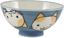 "2 PCS. Japanese 4""D Porcelain Maneki Neko Cat Children Rice Bowls, Made in Japan"
