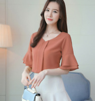 New Fashion Women Chiffon V Neck T Shirt Solid Flared Sleeve Blouse Casual Tops