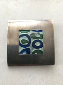 Vintage Sterling Silver ? and Inlaid  Enamel brooch Mid Century Georg Jensen??