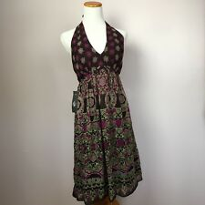 Maggy London dress size 6 halter dress 100% silk multicolored