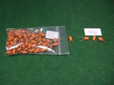Lot of 100 New 10uF 35V Tantalum Radial Capacitor - Formed Leads - Orange