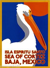 Baja California Sea of Cortez Mexican Spanish Travel Advertisement Art Poster