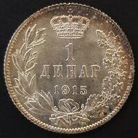 Serbia, Peter 1, 1 Dinar Silver Coin, 1915, AU, Toned