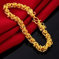 "18k Yellow Gold Men's Large 9"" Inch Dragon Link Chain Bracelet w Gift Pkg D731"