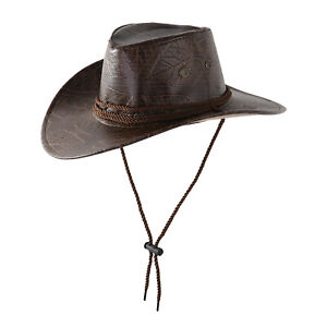 PU Leather Western Cowboy Rider Ropes Buckle Hat Mongolia Grassland Climbing Cap