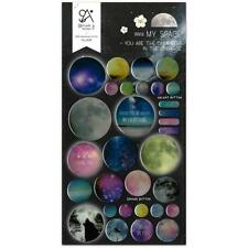 CUTE MY SPACE STICKERS Planet Gel Sticker Sheet Craft Scrapbook Seal Kawaii NEW