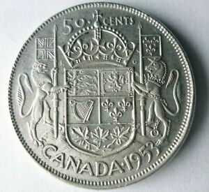 1953 CANADA 50 CENTS - AU - High Quality/Value Silver Coin - Lot #L29
