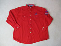 Wrangler Pearl Snap Shirt Adult 2XL XXL Red Blue Rodeo Patriot Western Cowboy