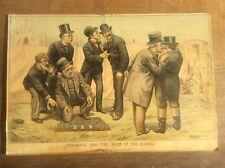 Antique Original Tom Merry Political Cartoon Lithograph Doncaster 1888 The Scum