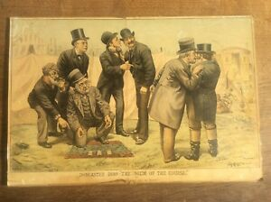 Antique Original Tom Merry Political Cartoon Lithograph Doncaster 1888 The Scum