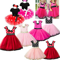 Baby Kids Girl's Minnie Mouse Princess Birthday Party Tulle Tutu Dress Outfits