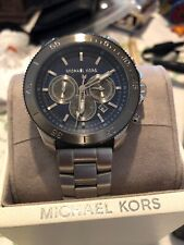 NIB Michael Kors MK8662  Men Theroux Stainless Steel Silve  & Blue Dial Watch