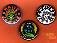 "Set of three 1"" White Zombie pins buttons Rob Zombie horror punk"