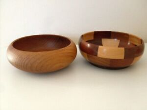 WOODEN BOWLS,( 2 ) TEAK & VARIOUS WOODS. IDEAL FOR XMAS NUTS / SWEETS. VGC