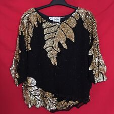Oleg Cassini Womens Blouse Size L 12 Vintage Top Black Gold Sequin Silk 1J75