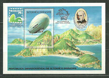ST THOMAS AND PRINCE 519 MNH S/S GRAF ZEPPELIN OVER ST THOMAS SCV 22.50