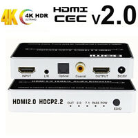 4K HDR HDMI 2.0 Audio Extractor Splitter HDMI to HDMI Optical Toslink SPDIF+L/R