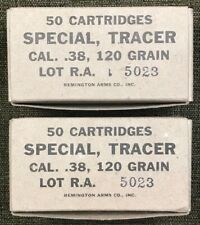 REMINGTON ARMS .38 SPECIAL 120 GRAIN TRACER  WW2 NEW REPLICA  AMMO BOXES - 2 PCS