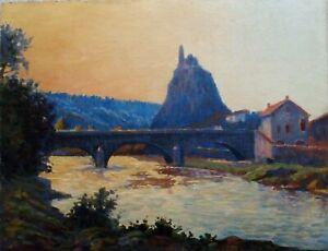 Impressionnisme - Paysage d'Auvergne - Vue du Puy en Velay - huile/carton deb XX