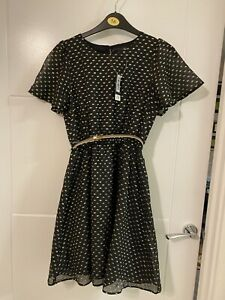 George Bnwt Girls Black & Gold Party Dress 12-13 Years