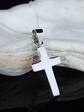 Sterling Silver 925 Jewellery Plain Cross Pendant 16/18/20'' Necklace Gift Box