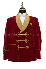 Men Red Smoking Jacket Elegant Luxury Stylish Designer Party Wear Blazer