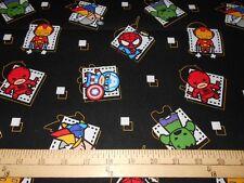 """2 yards Marvel Kawaii """"Superhero Badge""""  Fabric"""