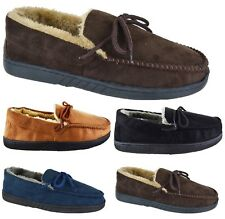 NEW GENTS MENS MOCCASIN FLAT OUT DOOR SOLE FAUX SUEDE SLIPPERS UK SIZE 6-12