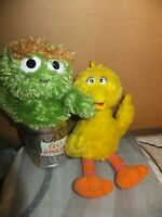 Lot of 2 GUND Sesame Street Plush 075860 Oscar 75350 Big Bird