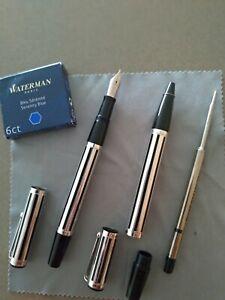 Parure Waterman Night & Day : stylo plume M et stylo bille, comme neufs