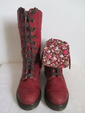 Dr Martens Boots Triumph Cherry Red Leather Lace Up Floral US 6 Women