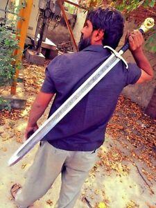 "Damascus steel hand made sword sharp edge razor overall 34"" inches long"