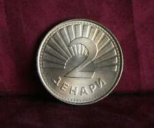 Macedonia 2 Denari 2001 Brass Unc World Coin KM3 Trout Fish Balkan Europe