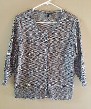 EUC Relativity Womens 3/4 Sleeve Cardigan Sweater Size PL Black White Print