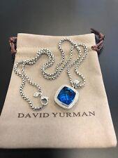 David Yurman Sterling Silver 14mm Blue Topaz Diamond Albion Pendant Necklace