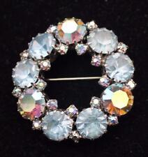 Vintage Signed WEISS Silvertone Blue Aurora Borealis Rhinestones HOOP Pin Brooch