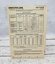 1976 Us Army Demolition Card Gta 5-10-28 - Great Condition