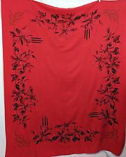 Vintage California Hand Prints Red Christmas Tablecloth Poinsettias Candles