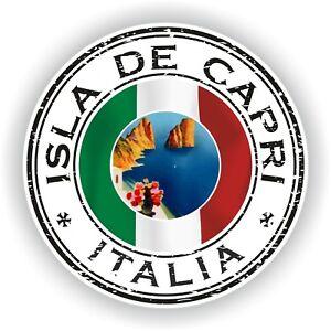 Seal Sticker of Capri Italy Italia Stamp Bumper Roundel Truck Laptop Car