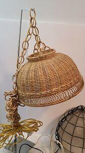"Vintage Wicker Woven Hanging Lamp Light Pendant Shade Basket Weave 14"" Wide"