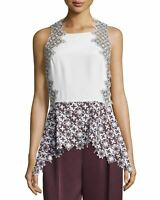 3.1 PHILLIP LIM White Red Patchwork Lace Peplum Sleeveless Tank Top Blouse 4 NWT