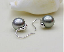 10MM AAA SOUTH SEA GREY SHELL PEARL SOLID STERLING SILVER HOOK EARING