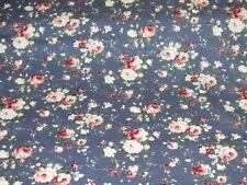 Baumwollstoff Popeline Rosen auf jeansblau Damenstoffe Baumwolldruck