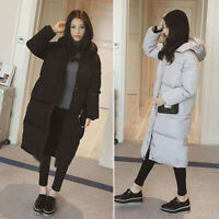 Winter Womens Long Coat Padded Loose Puffer Hooded Cotton Jacket Parka Outerwear
