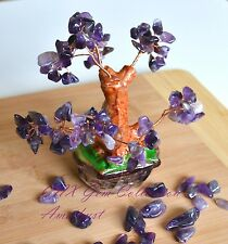 Natural Gemstone Crystal Amethyst Hand Made Copper Wired Gem Tree Home Decor