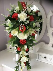 large Natural bridal teardrop bouquet Red and ivory flowers