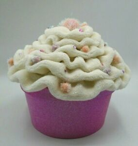 Pink Cupcake Gift Box Sparkly Sequins & Pom Poms