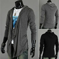 Men Hooded Knitted Irregule Cardigan Coat Long Sleeve Jacket Sweater Outwear New