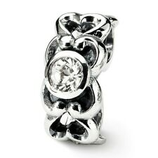 CZ Connector Bead .925 Sterling Silver Antique Finish Reflection Beads