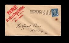 Pierce Fruits Vegetables Large Red Logo Chicago 1897 Machine Cancel Cover 1l